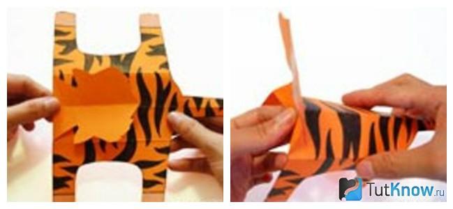 Придание объема бумажному тигру
