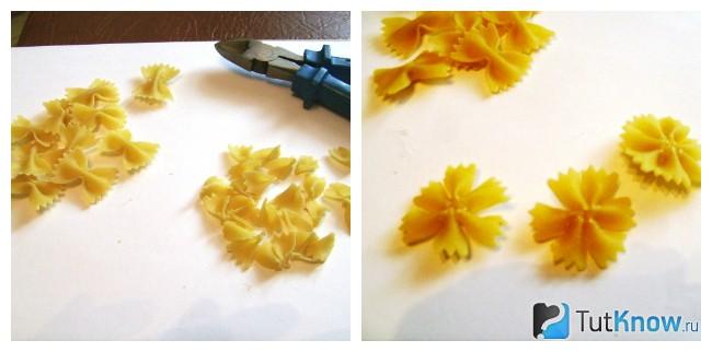 Изготовление василька из макарон
