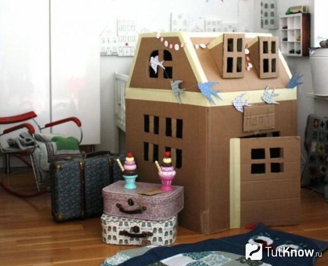 Домик из картонной коробки для детей