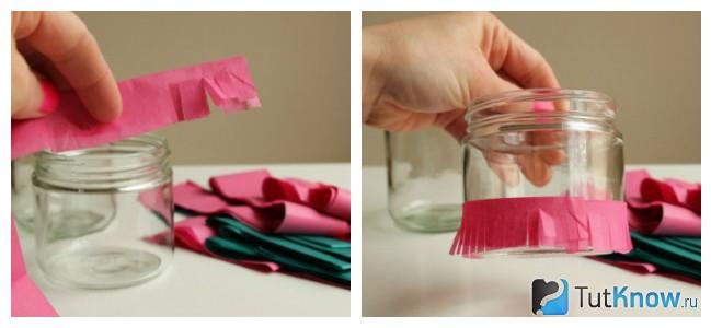 Обклеивание баночки цветными бумажными лентами