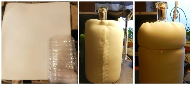 Обшиваем бутылку поролоном