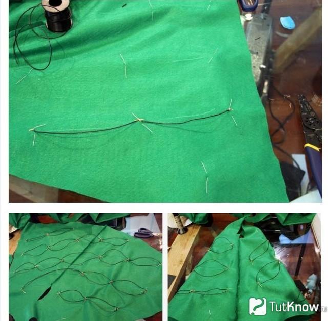 Скрепление боковых швов новогоднего костюма