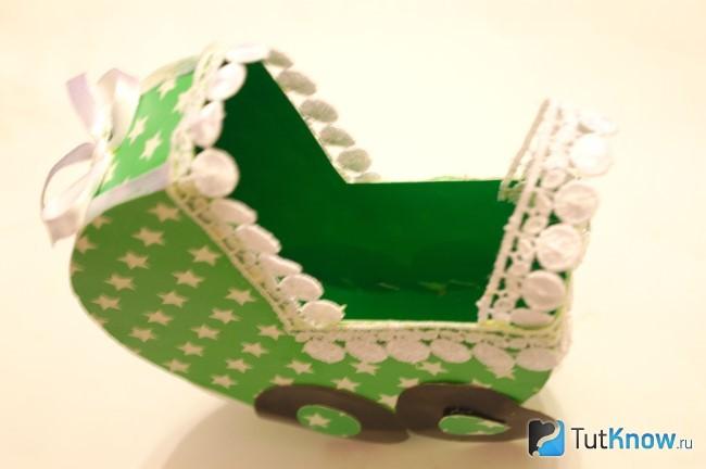 Декорирование картонной коляски