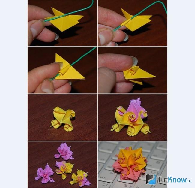 Схема изготовления цветка из бумаги