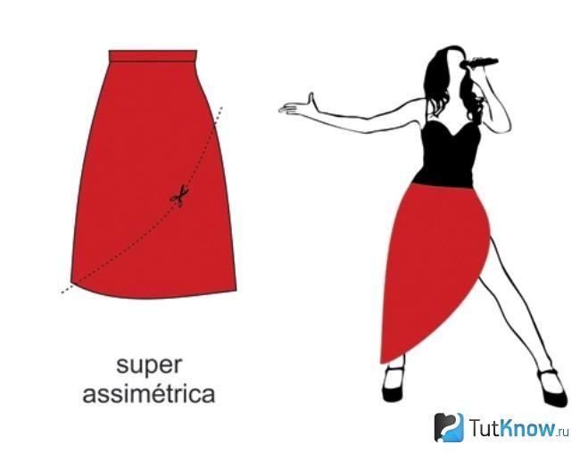 Ассиметричный вырез на юбке