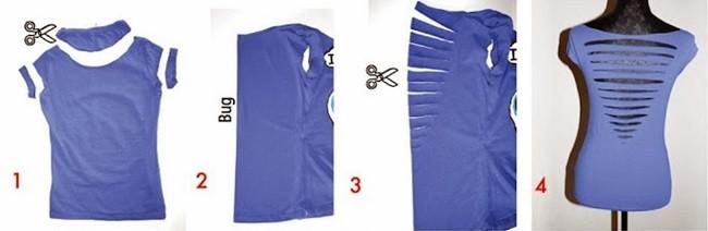 Пошаговое декорирование и преображение старой футболки