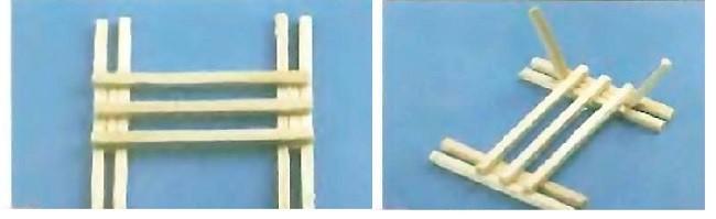 Основа каркаса телеги из спичек