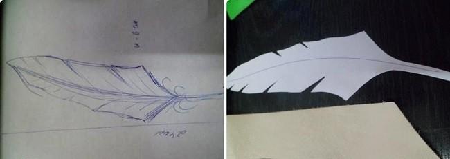 Изготовление шаблона пера для коллажа
