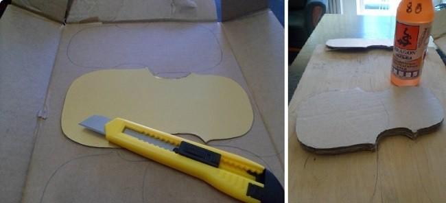 Вырезание скрипки из картона для коллажа