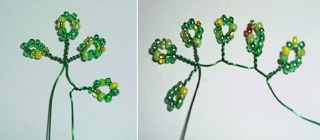 Плетение ветки с берёзовыми листиками