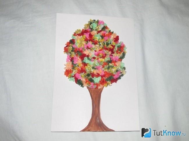 Торцевание из салфеток кроны дерева