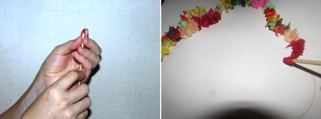 Торцевание из салфеток по контуру силуэта дерева