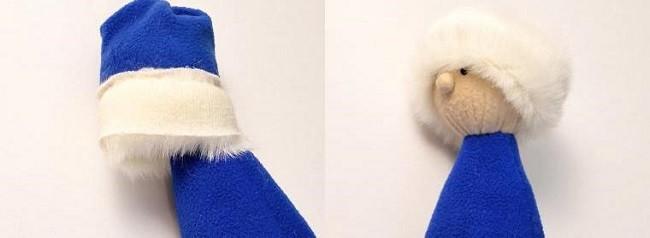 Формирование опушки шапки Деда Мороза