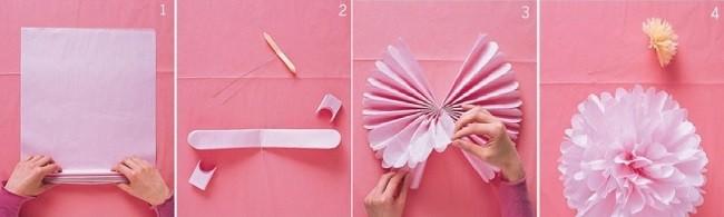 Пошаговое создание цветов из салфеток