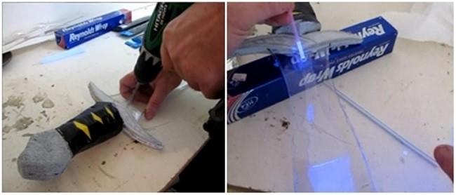 Формирование отверстия для светящейся жидкости