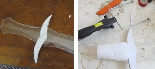 Скрепление деталей меча герметиком