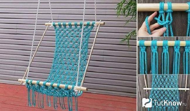 Плетенное подвесное кресло-гамак