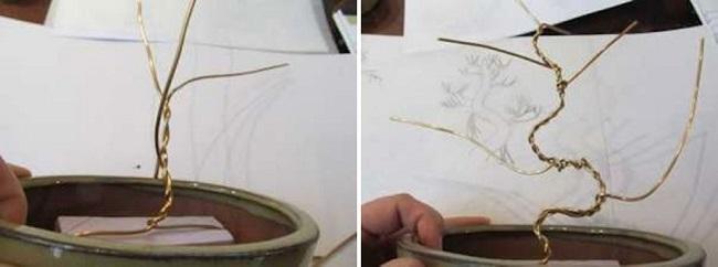 Формирование из проволоки формы деревца бонсай