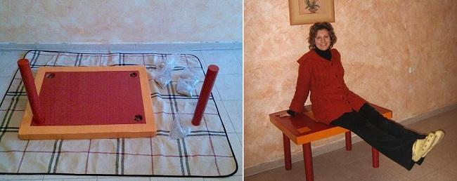 Присоединение ножек из картона к столу