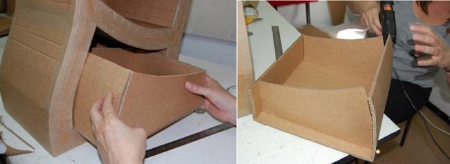 Выдвижные ящики для ассиметричного мини-шкафа из картона