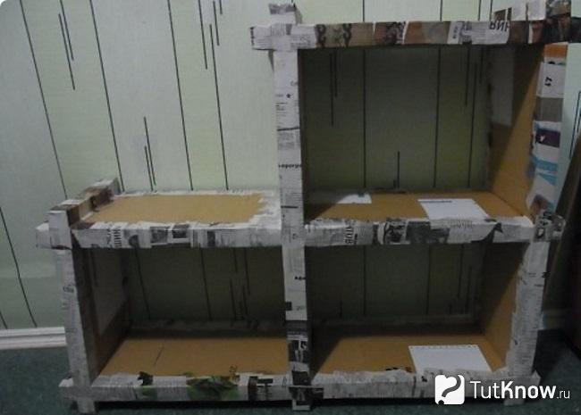 Заготовка подвесной полки из картона