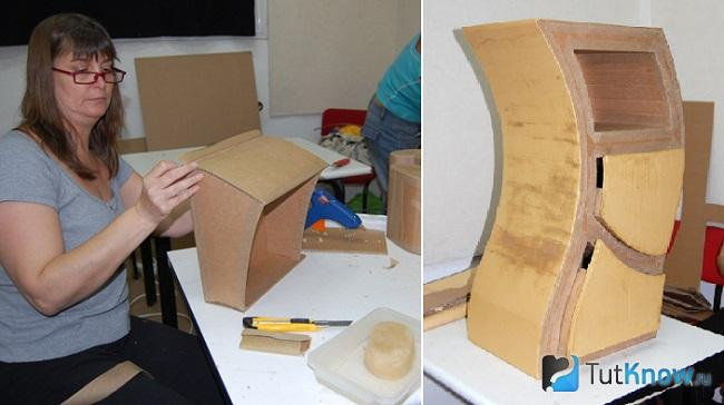 Создание ассиметричного мини-шкафа из картона