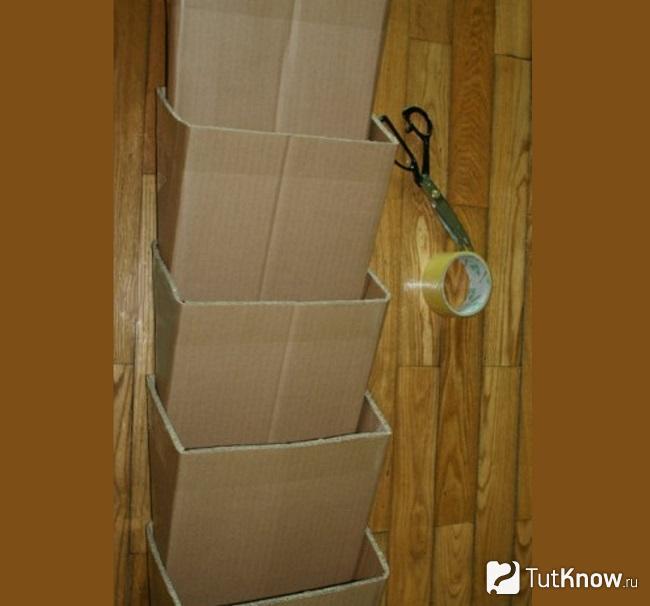 Закрепление секций полки для обуви из картона