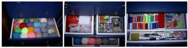 Хранение мелочей в комоде из картона