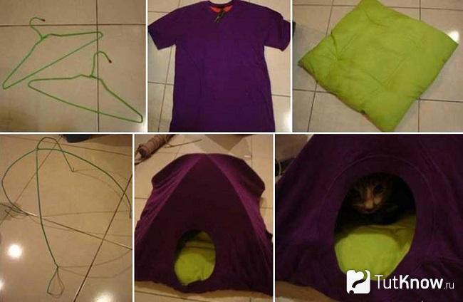 Домик из фиолетовой футболки