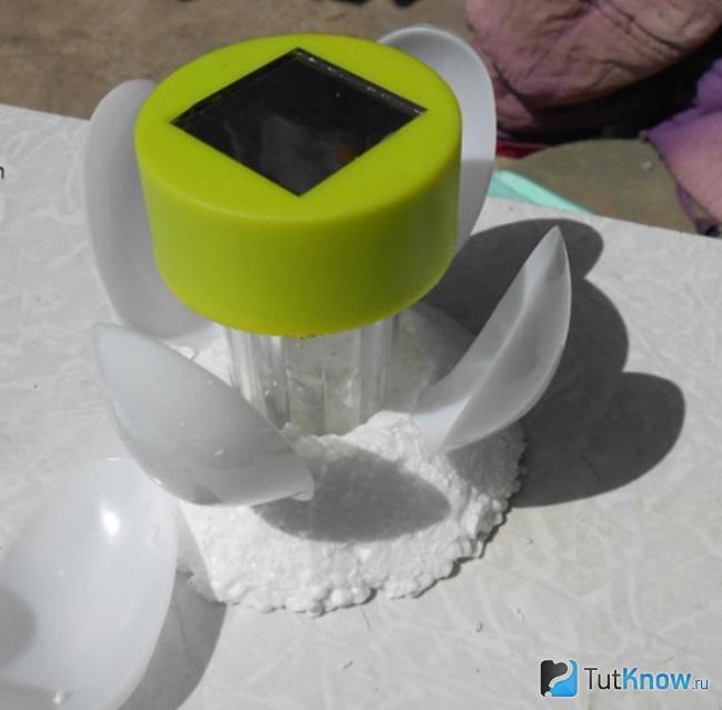 Прикрепление ложек к пенопласту