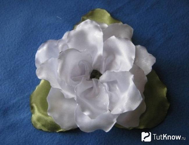 Выкладывание цветка из белых лепестков