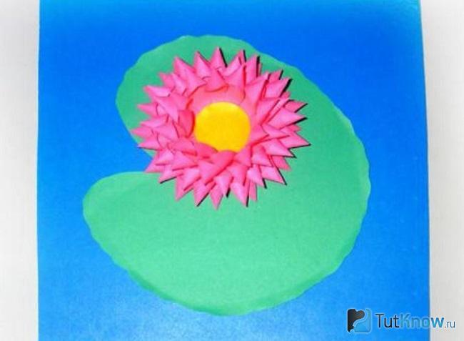 Цветок лотоса наклеен на открытку