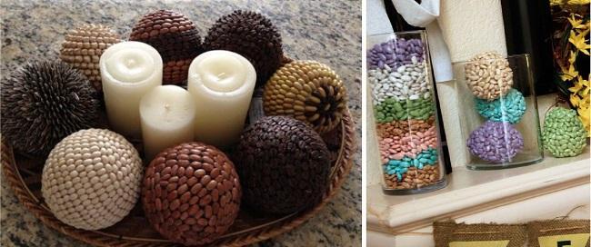 Украшенные семенами шарики