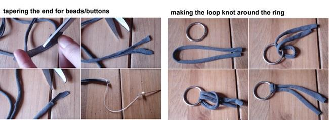 Разрезание футболки для создания колье