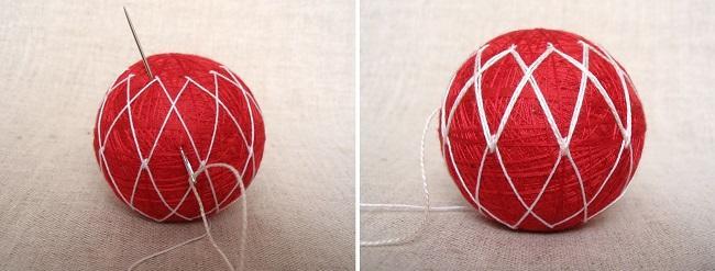 Прошивка второго стежка на красном шаре