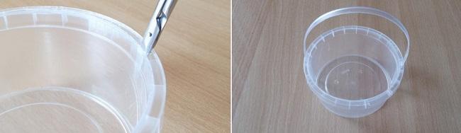 Ручка для будущей корзинки из срезанного ободка