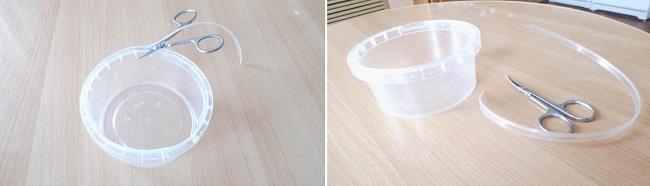 Срезанный ободок пластиковой баночки