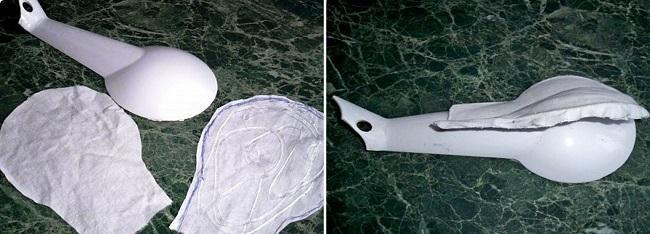 Заготовки из ткани на пластиковой ложке