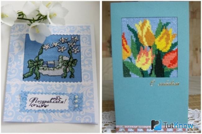 Две самодельные открытки