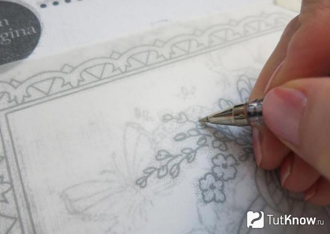 Прорисовка контуров на открытке