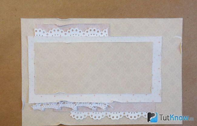 Контуры, прикреплённые к основе открытки