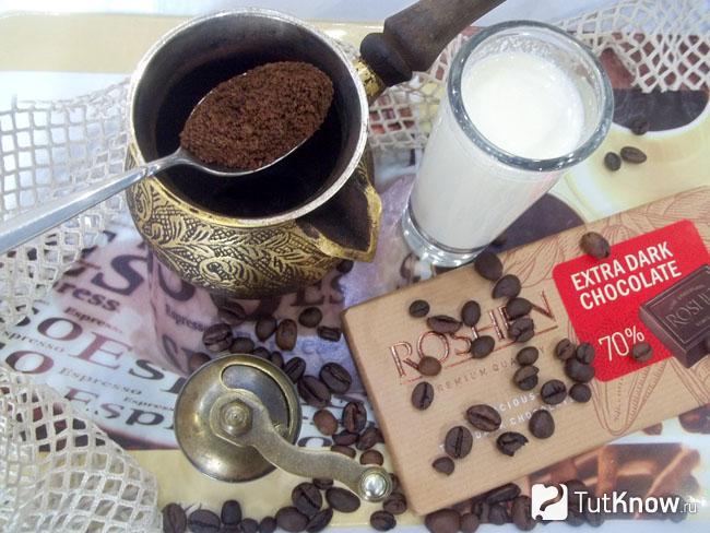 Кофе насыпано в турку