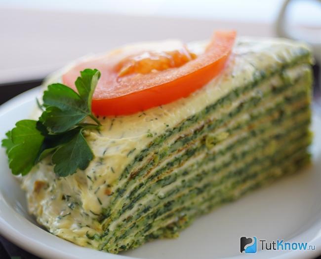 Постный пирог со шпинатом